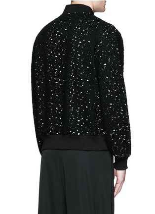 Back View - Click To Enlarge - Alexander McQueen - Distressed open knit bomber jacket