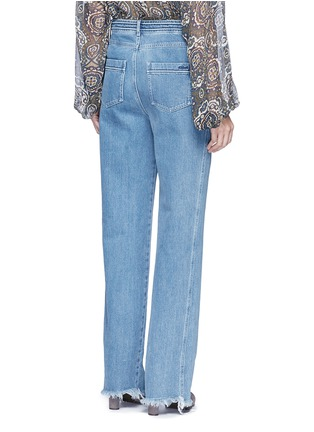 Back View - Click To Enlarge - Chloé - Frayed cuff cotton jeans