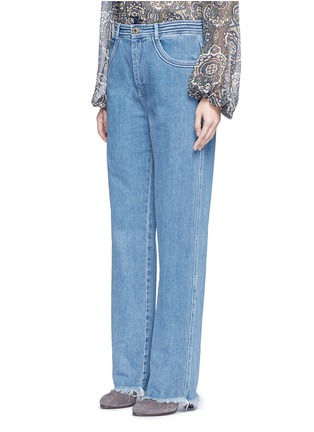 Front View - Click To Enlarge - Chloé - Frayed cuff cotton jeans
