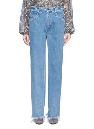 Figure View - Click To Enlarge - Chloé - Frayed cuff cotton jeans
