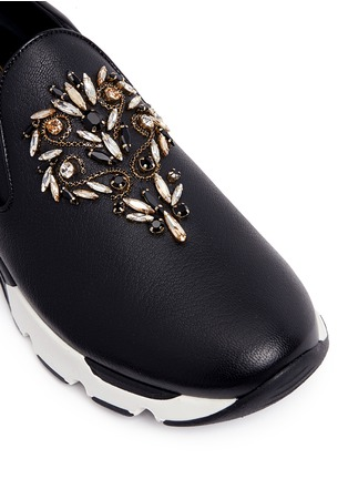 Detail View - Click To Enlarge - René Caovilla - Strass embellished mix leather slip-on sneakers