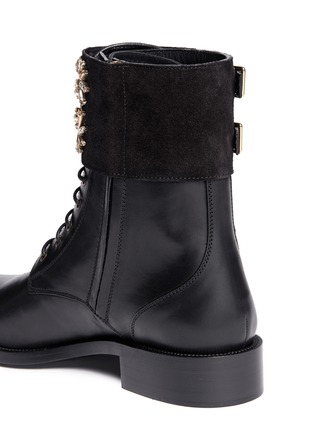 Detail View - Click To Enlarge - René Caovilla - 'Biker' crystal embellished suede cuff leather boots