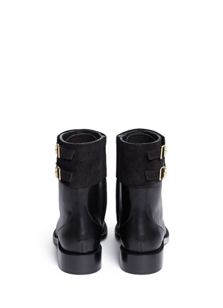 Back View - Click To Enlarge - René Caovilla - 'Biker' crystal embellished suede cuff leather boots