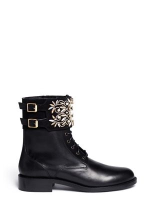 Main View - Click To Enlarge - René Caovilla - 'Biker' crystal embellished suede cuff leather boots
