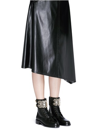 Figure View - Click To Enlarge - René Caovilla - 'Biker' crystal embellished suede cuff leather boots