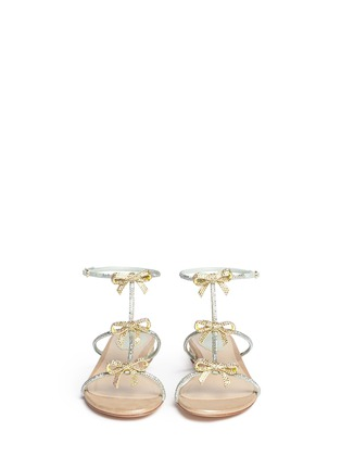 Front View - Click To Enlarge - René Caovilla - Strass pavé bow satin sandals