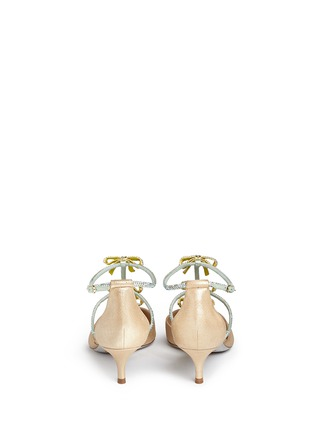 Back View - Click To Enlarge - René Caovilla - Strass pavé satin bow suede pumps