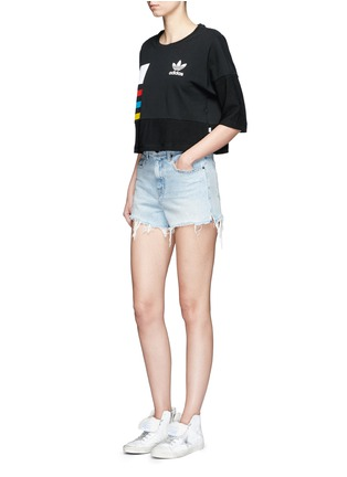 Figure View - Click To Enlarge - Adidas - Colourblock stripe print cropped T-shirt