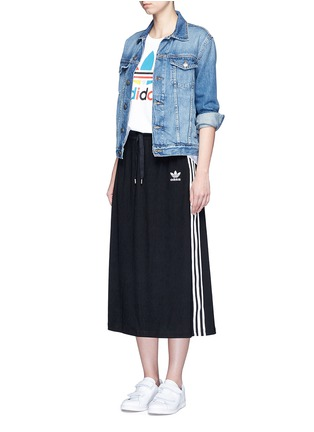 Figure View - Click To Enlarge - adidas - Drawstring jacquard skirt