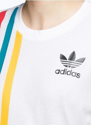 Detail View - Click To Enlarge - ADIDAS - Mesh panel colourblock stripe T-shirt