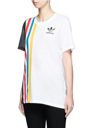 Front View - Click To Enlarge - ADIDAS - Mesh panel colourblock stripe T-shirt