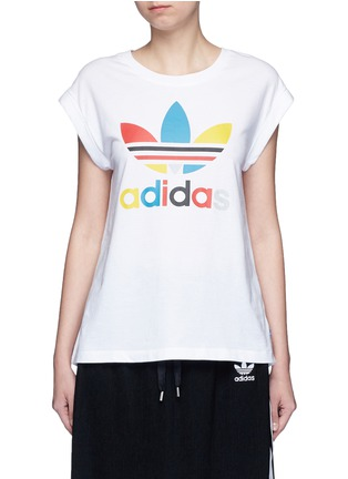 Main View - Click To Enlarge - Adidas - '70's Saturday Night Fever' Trefoil logo print T-shirt