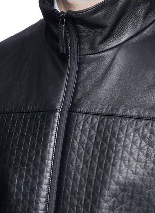 Detail View - Click To Enlarge - Armani Collezioni - Diamond embossed leather jacket