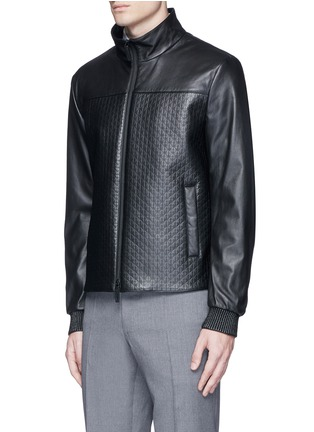 Front View - Click To Enlarge - Armani Collezioni - Diamond embossed leather jacket