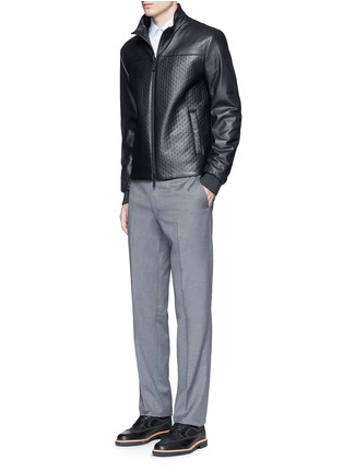 Figure View - Click To Enlarge - Armani Collezioni - Diamond embossed leather jacket