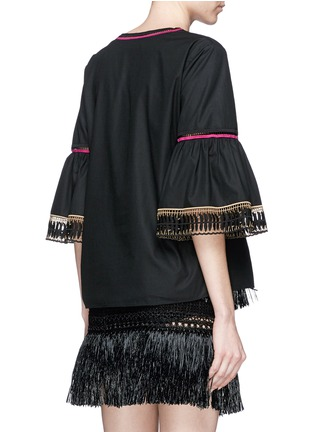 Back View - Click To Enlarge - Temperley London - 'Clara' leaf guipure lace peasant blouse