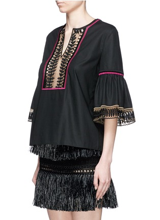 Front View - Click To Enlarge - Temperley London - 'Clara' leaf guipure lace peasant blouse