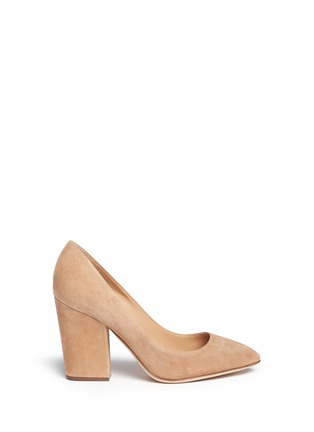 Main View - Click To Enlarge - SERGIO ROSSI - 'Scarlett' chunky heel suede pumps