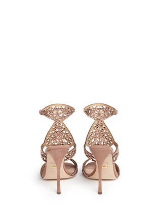 Back View - Click To Enlarge - SERGIO ROSSI - 'Tresor' crystal pavé cutout suede sandals