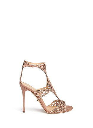 Main View - Click To Enlarge - SERGIO ROSSI - 'Tresor' crystal pavé cutout suede sandals
