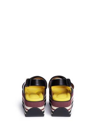 Back View - Click To Enlarge - Marni - 'Zeppa' stripe platform plonge mesh sandals