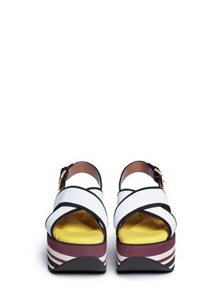 Front View - Click To Enlarge - Marni - 'Zeppa' stripe platform plonge mesh sandals