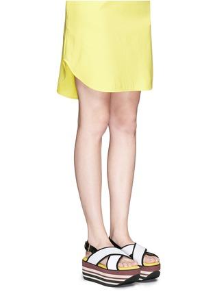 Figure View - Click To Enlarge - Marni - 'Zeppa' stripe platform plonge mesh sandals