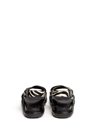 Back View - Click To Enlarge - Marni - 'Fussbett' zebra print calfhair leather sandals