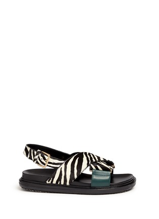 Main View - Click To Enlarge - Marni - 'Fussbett' zebra print calfhair leather sandals