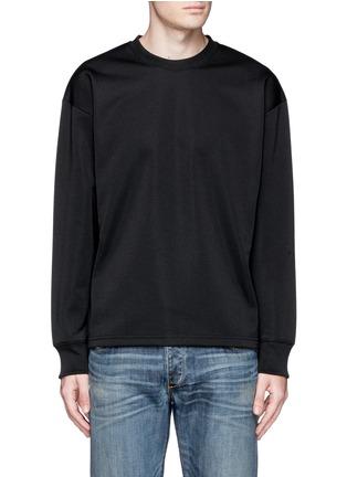 Main View - Click To Enlarge - McQ Alexander McQueen - Oversized floral logo stripe sweatshirt