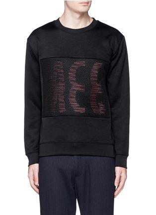 Main View - Click To Enlarge - McQ Alexander McQueen - Mesh front logo print sweatshirt