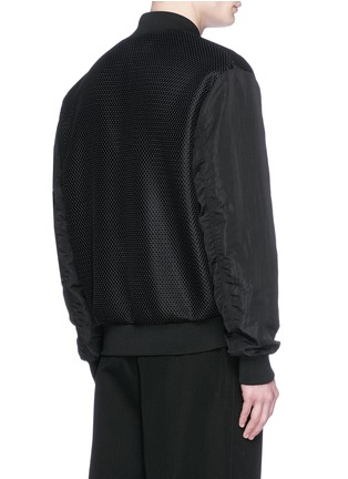 Back View - Click To Enlarge - McQ Alexander McQueen - 'MA-1' mesh and crinkled tech cotton bomber jacket
