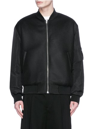 Main View - Click To Enlarge - McQ Alexander McQueen - 'MA-1' mesh and crinkled tech cotton bomber jacket
