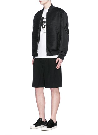 Figure View - Click To Enlarge - McQ Alexander McQueen - 'MA-1' mesh and crinkled tech cotton bomber jacket