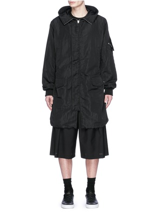 Main View - Click To Enlarge - McQ Alexander McQueen - Crinkled tech cotton hood parka