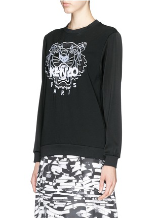 Front View - Click To Enlarge - KENZO - Tiger embroidery crepe sweater
