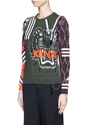 Front View - Click To Enlarge - KENZO - Mix logo tiger embroidery sweatshirt