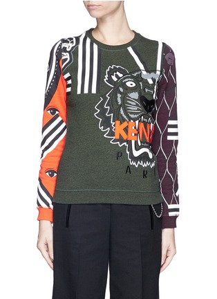 Main View - Click To Enlarge - KENZO - Mix logo tiger embroidery sweatshirt