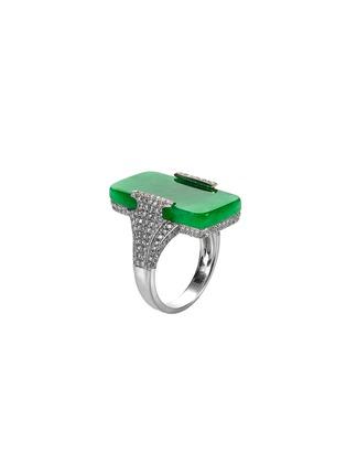 Figure View - Click To Enlarge - SAMUEL KUNG - Diamond jade 18k gold ring