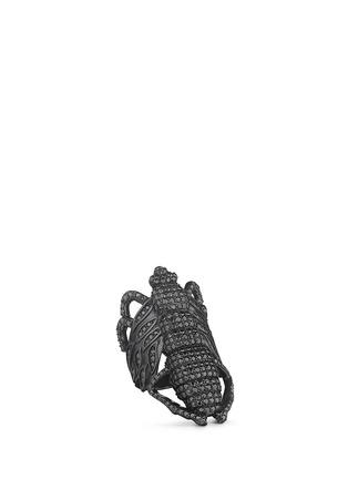 Main View - Click To Enlarge - Lynn Ban - 'Moth' diamond black rhodium silver ring