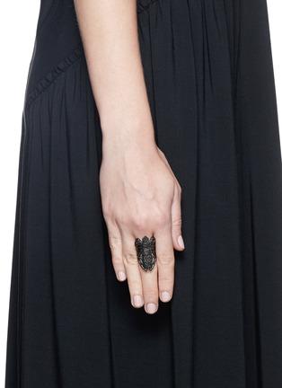 Figure View - Click To Enlarge - Lynn Ban - 'Moth' diamond black rhodium silver ring