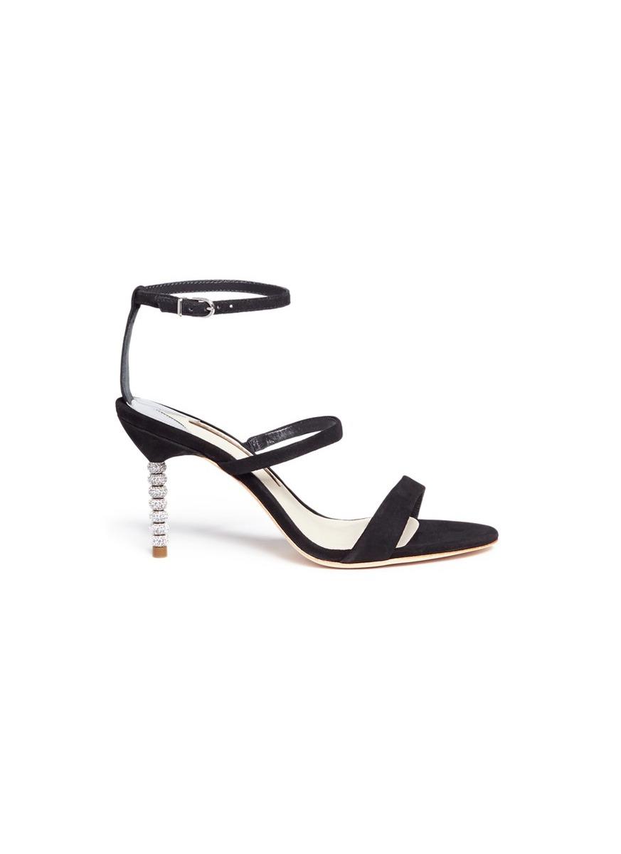 Rosalind crystal pavé bead heel suede sandals by Sophia Webster