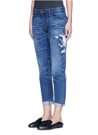 Front View - Click To Enlarge - Tortoise Denim - Oriental embroidery distressed cropped straight jeans