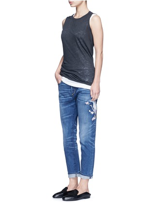 Figure View - Click To Enlarge - Tortoise Denim - Oriental embroidery distressed cropped straight jeans