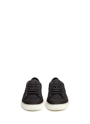 Front View - Click To Enlarge - Lanvin - Gummy toe cap textured leather sneakers