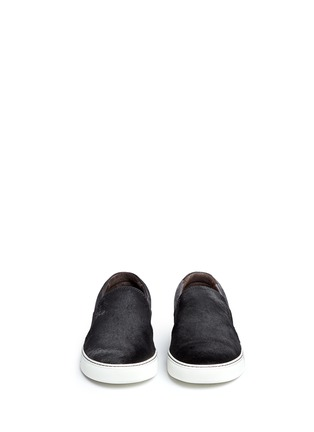 Front View - Click To Enlarge - Lanvin - Calf hair and suede skate slip-ons