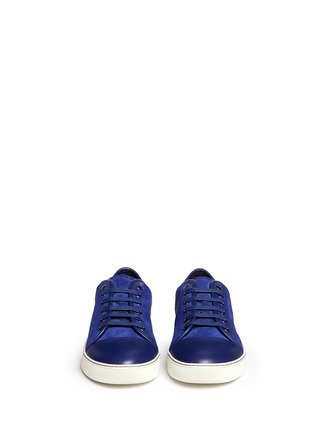 Front View - Click To Enlarge - Lanvin - Gummy toe cap suede sneakers