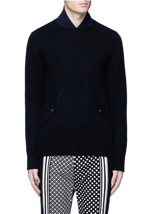 Main View - Click To Enlarge - Sacai - Flannel back yoke wool sweater