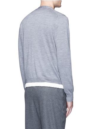 Back View - Click To Enlarge - Sacai - Drawstring hem wool cardigan
