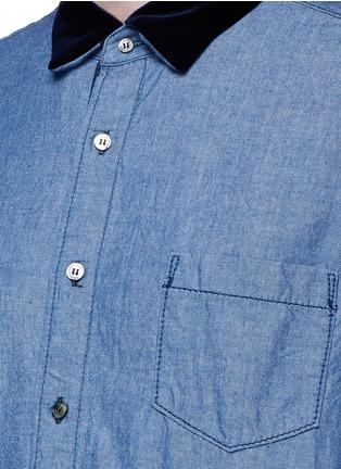 Detail View - Click To Enlarge - Sacai - Velvet collar cotton chambray shirt